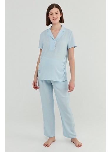 Penti Açık Mavi Mama Blue Crinkle   Gömlek Pantolon Takımı Mavi